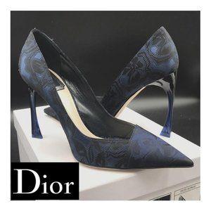 Dior Songe Black/Blue Flower Canvas Luxury Pumps 8